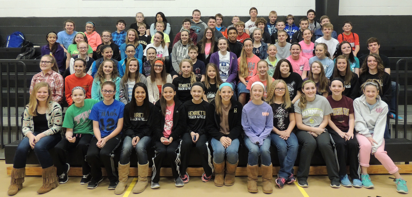 Students at Henrietta Junior High participating in the student council's second annual canned food drive collected more than 1,700 items. The food will be donated to the Clay County Mission Outreach.